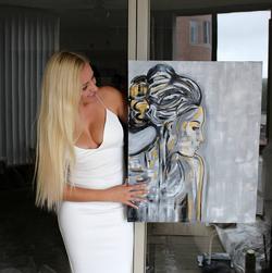Showing off artwork
