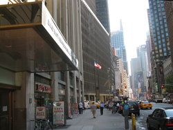 Bad Boy Entertainment Worldwide headquarters on                                 Broadway                                near                                 Times Square                                . A billboard of Combs is in the distance.
