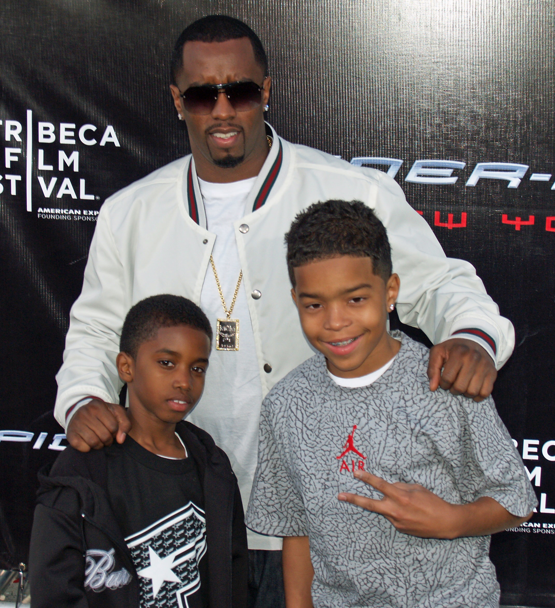 Combs with his sons Christian and Justin at the Spider-Man 3 premiere (2007)