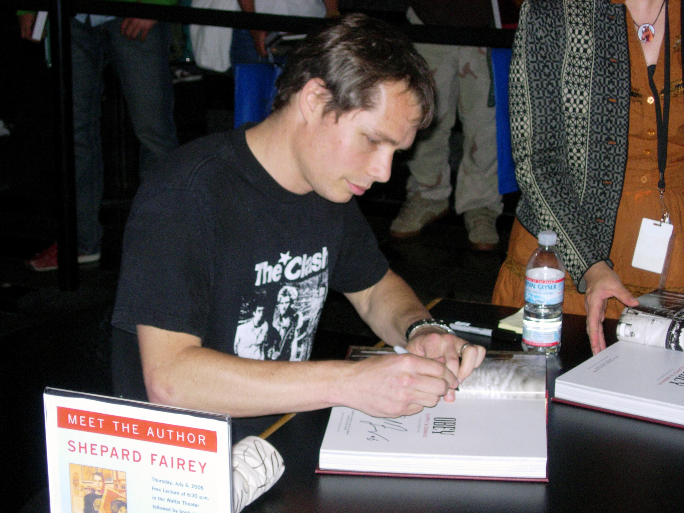 Shepard Fairey at a book signing for Supply & Demand: The Art of Shepard Fairey