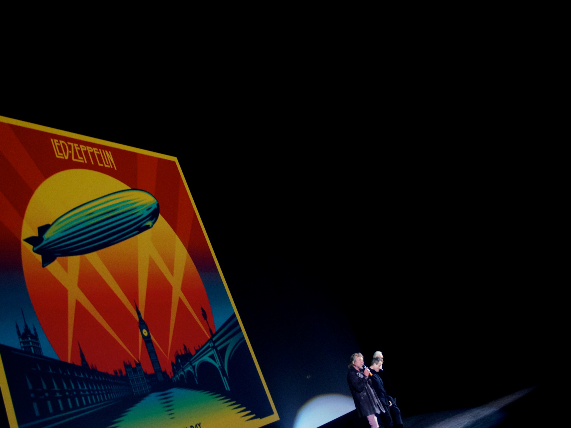 Promotional work for by Fairey for the album and film Celebration Day served as a backdrop for a 2012 Led Zeppelin press conference