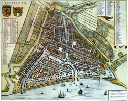 Map of Rotterdam by                                 Willem                                and                                 Joan Blaeu                                (1652)