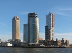 Tower blocks                                in the                                 Kop van Zuid                                neighbourhood