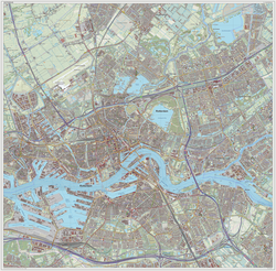 Topographic map image of Rotterdam (city), as of Sept. 2014