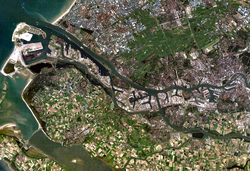 Satellite image of Rotterdam and its port