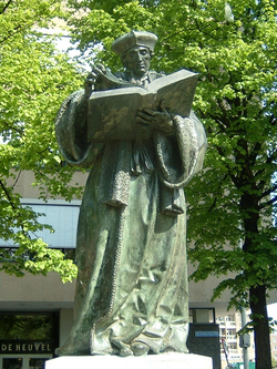 Bronze statue of                                 Erasmus                                created by                                 Hendrick de Keyser                                in 1622