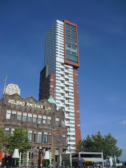 The former headquarters of the                                 Holland America Line                                next to modern residential architecture in 2010