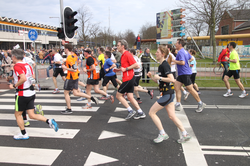 Runners during the marathon in Rotterdam