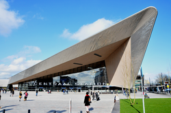 Rotterdam's new                                 Central Station                                reopened in March 2014, designed to handle up to 320,000 passengers daily.
