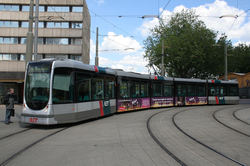 A                                 Citadis                                                 tram                                outside the former                                 Rotterdam Centraal                                , 2008