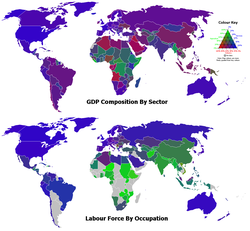GDP composition of sector and labour force by occupation. The green, red, and blue components of the colours of the countries represent the percentages for the agriculture, industry, and services sectors, respectively.