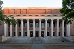 Widener Library anchors the Harvard University Library system