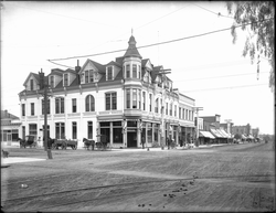Exterior view of the Bank Building at the corner of Third Street and Broadway, Santa Monica, ca.1900