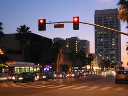 Wilshire Boulevard in downtown Santa Monica at twilight.