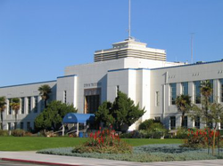 Santa Monica City Hall, designed by                                 Donald Parkinson                                , with terrazo mosaics by                                 Stanton MacDonald-Wright