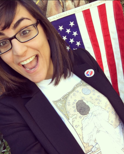 Sabba smiling on the day she voted in the 2016 US Presidential election