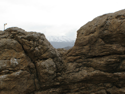 View of Mount Hermon through niche in rock bridge in the Aaiha plain (credit Paul Bedson)