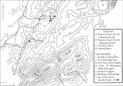 Suggested map of Enoch's journey into the Aaiha plain from Mount Hermon (credit Christian O'Brien)