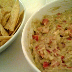 A                                 guacamole                                mix (right) used as a dip for                                 tortilla chips                                (left).