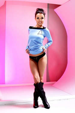 Wearing star trek clothes for a shoot