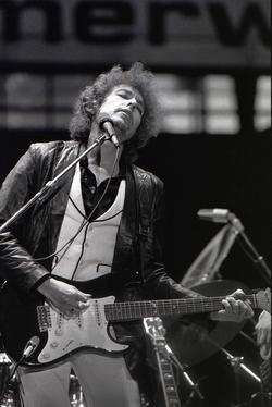 Dylan performing in the Feyenoord Football Club Stadium, Rotterdam, June 23, 1978