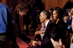 Dylan and the Obamas at the                                 White House                                , after a performance celebrating music from the                                 civil rights movement                                (February 9, 2010)