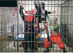 In a clown cage