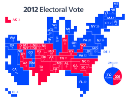 Cartogram                                representation of the Electoral College vote for the                                 2012 election                                , with each square representing one electoral vote.