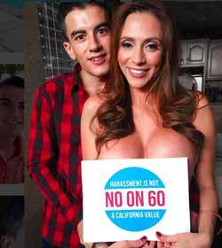 Photo of Jordi with a costar campaigning against Proposition 60, which would require condom use in porn [9]