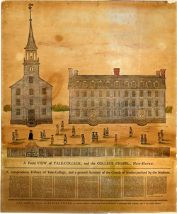 A Front View of Yale-College and the College Chapel, Daniel Bowen, 1786.