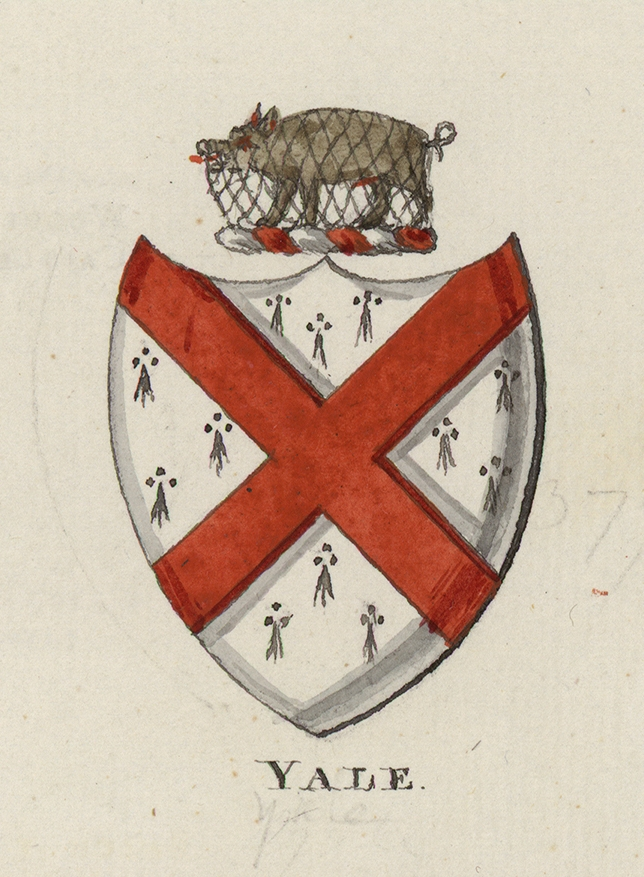 Crest of the family of Elihu Yale, after whom the University was named in 1718