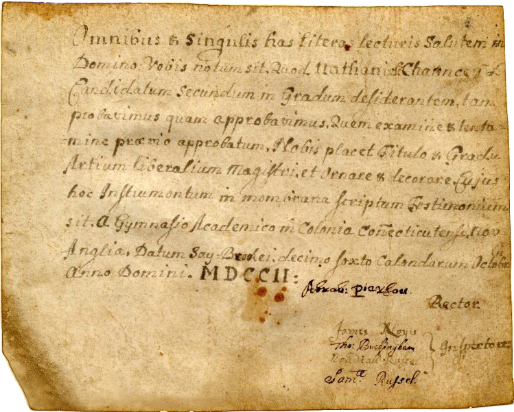 First diploma awarded by Yale College, granted to Nathaniel Chauncey, 1702.