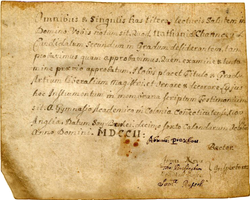 First diploma awarded by                                 Yale College                                , granted to Nathaniel Chauncey, 1702.