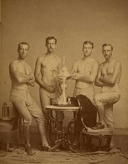 Yale's four-oared                                 crew                                team, posing with 1876 Centennial                                 Regatta                                trophy, won at                                 Philadelphia                                .