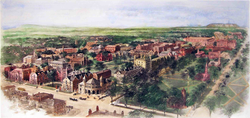 Richard Rummell's 1906 watercolor of the Yale campus, facing north.