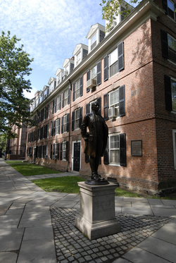 Statue of                                 Nathan Hale                                in front of                                 Connecticut Hall