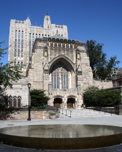 Yale University's                                 Sterling Memorial Library                                , as seen from                                 Maya Lin                                's sculpture,                                 Women's Table                                . The sculpture records the number of women enrolled at Yale over its history; female undergraduates were not admitted until 1969.