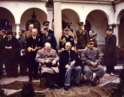 Yalta Conference in February 1945 with (from left to right)                                 Winston Churchill                                ,                                 Franklin D. Roosevelt                                and                                 Joseph Stalin                                . Also present are Soviet Foreign Minister                                 Vyacheslav Molotov                                (far left);                                 Field Marshal                                                 Sir Alan Brooke                                ,                                 Admiral of the Fleet Sir Andrew Cunningham, RN                                ,                                 Marshal of the RAF Sir Charles Portal, RAF                                , (standing behind Churchill);                                 General                                                 George C. Marshall                                ,                                 Chief of Staff of the United States Army                                , and                                 Fleet Admiral William D. Leahy, USN                                , (standing behind Roosevelt).
