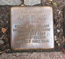 Memorial stone in front of the Aachen house where Anne stayed with her grandmother