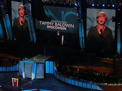 Baldwin speaks during the second day of the 2008 Democratic National Convention in Denver, Colorado.