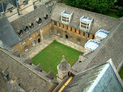 Aerial view of Merton College's Mob Quad, the oldest quadrangle of the university, constructed in the years from 1288 to 1378
