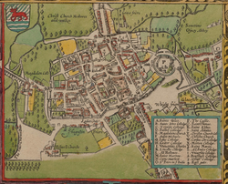 In 1605 Oxford was still a walled city, but several colleges had been built outside the city walls (north is at the bottom on this map)