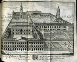 An engraving of Christ Church, Oxford, 1742