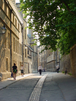 Brasenose Lane in the city centre, a street onto which three colleges back – Brasenose, Lincoln and Exeter.