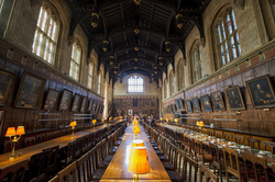 Dining hall at Christ Church. The hall is an important feature of the typical Oxford college, providing a place to both dine and socialise.