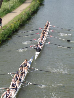 Rowing at Summer Eights, an annual intercollegiate bumps race