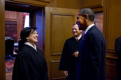 Kagan, Obama, and Roberts before her investiture ceremony
