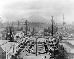 Alaska-Yukon-Pacific Exposition on the UW campus toward Mount Rainier in 1909