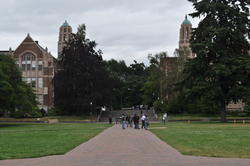 School of Art (left) and School of Music (right),from center of Quad