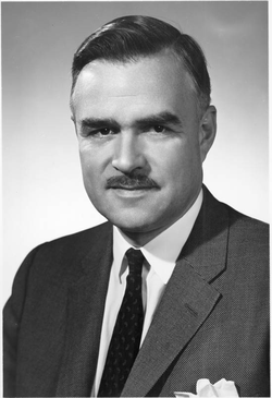 John Robarts                                , former premier of Ontario, and former alumnus and chancellor of Western.